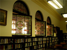 Tiffany windows at reading area