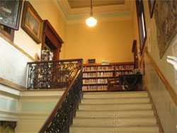 Library stairs leading to reading area